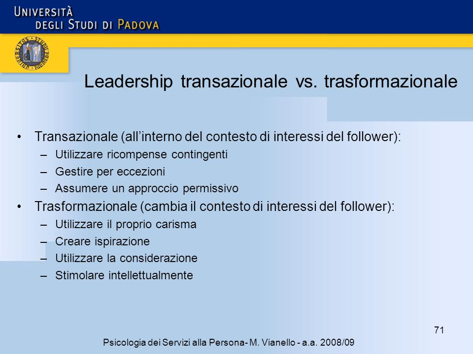Leadership transazionale vs. trasformazionale