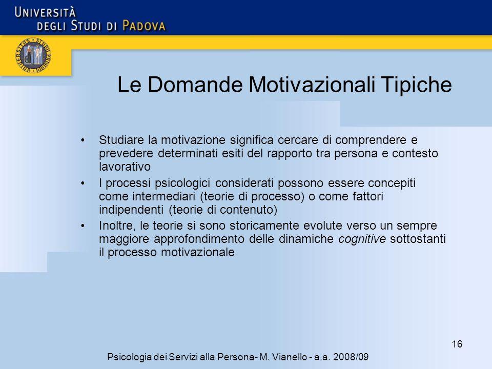 Le Domande Motivazionali Tipiche