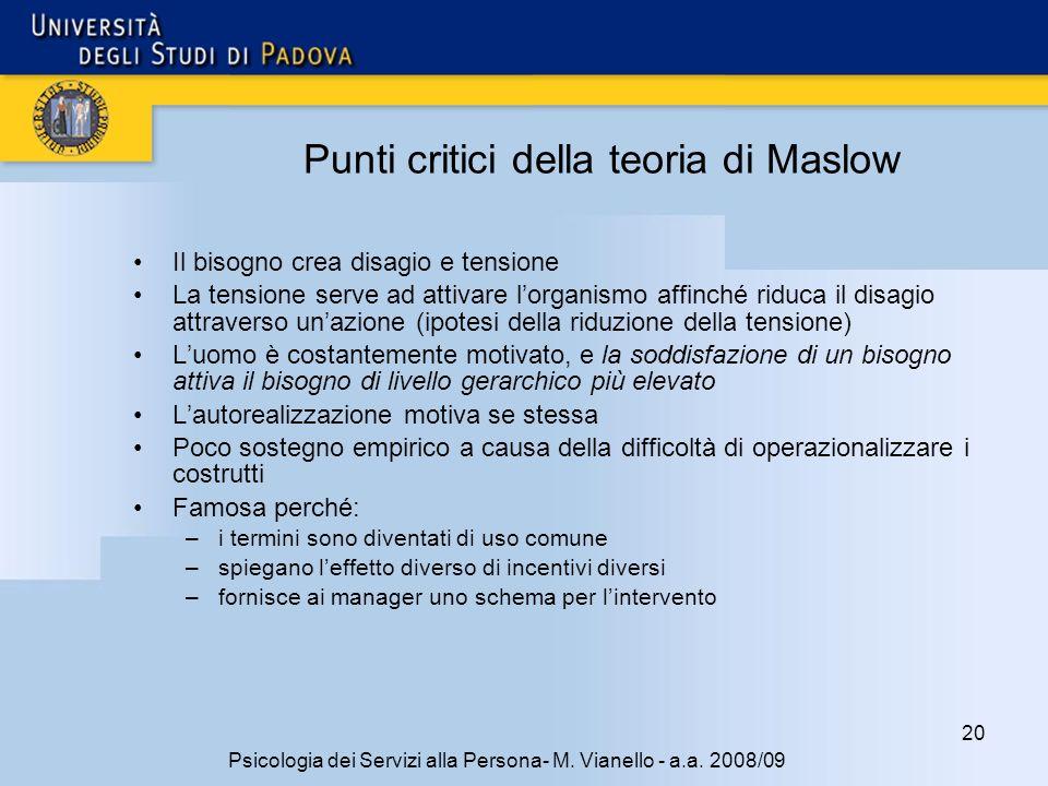 Punti critici della teoria di Maslow