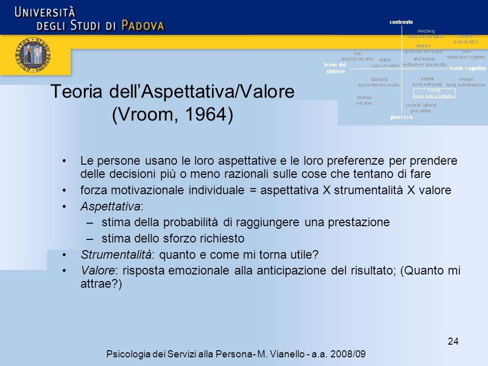 Teoria dell'Aspettativa/Valore (Vroom, 1964)