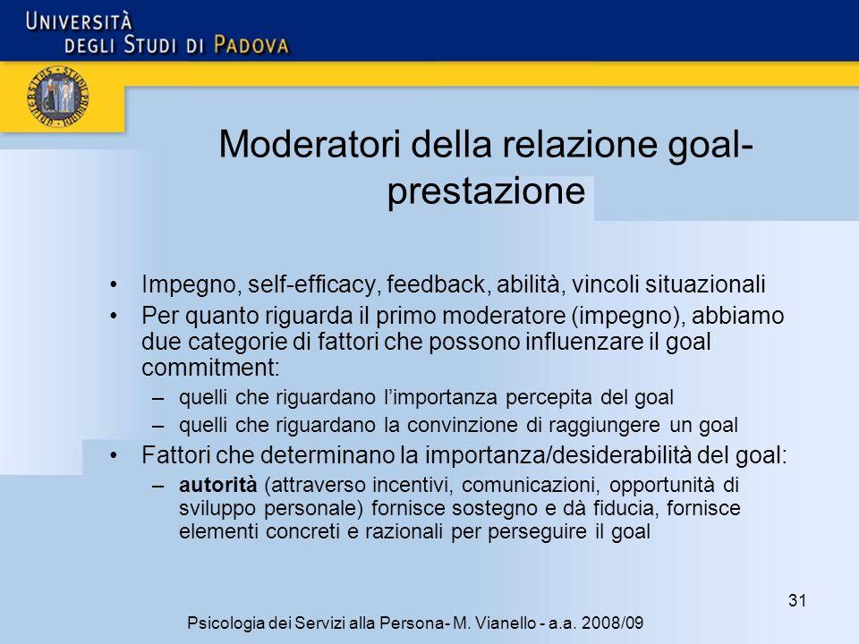 Moderatori della relazione goal-prestazione