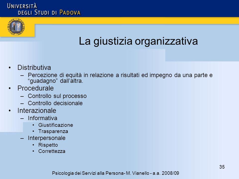 La giustizia organizzativa