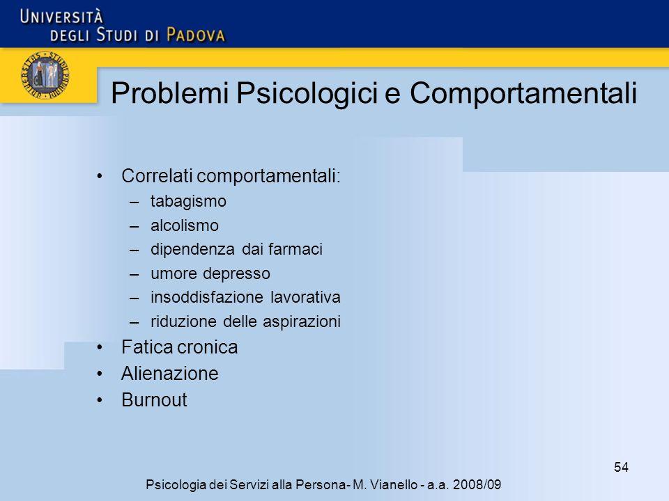 Problemi Psicologici e Comportamentali