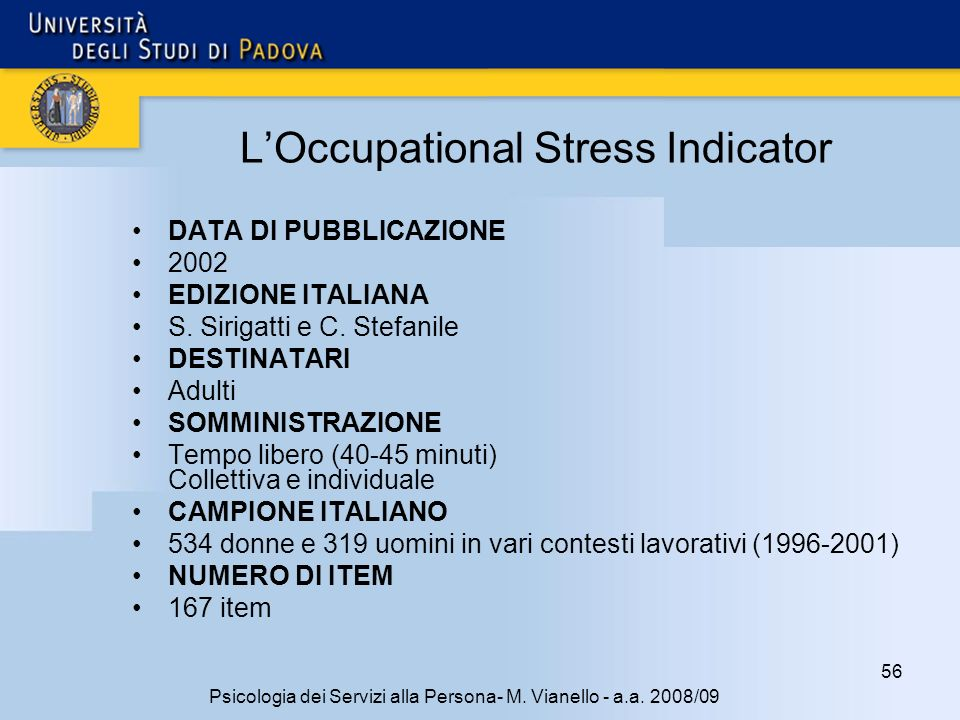 L'Occupational Stress Indicator