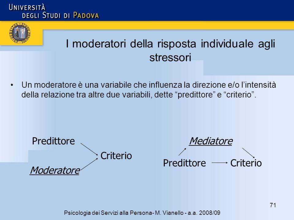 I moderatori della risposta individuale agli stressori