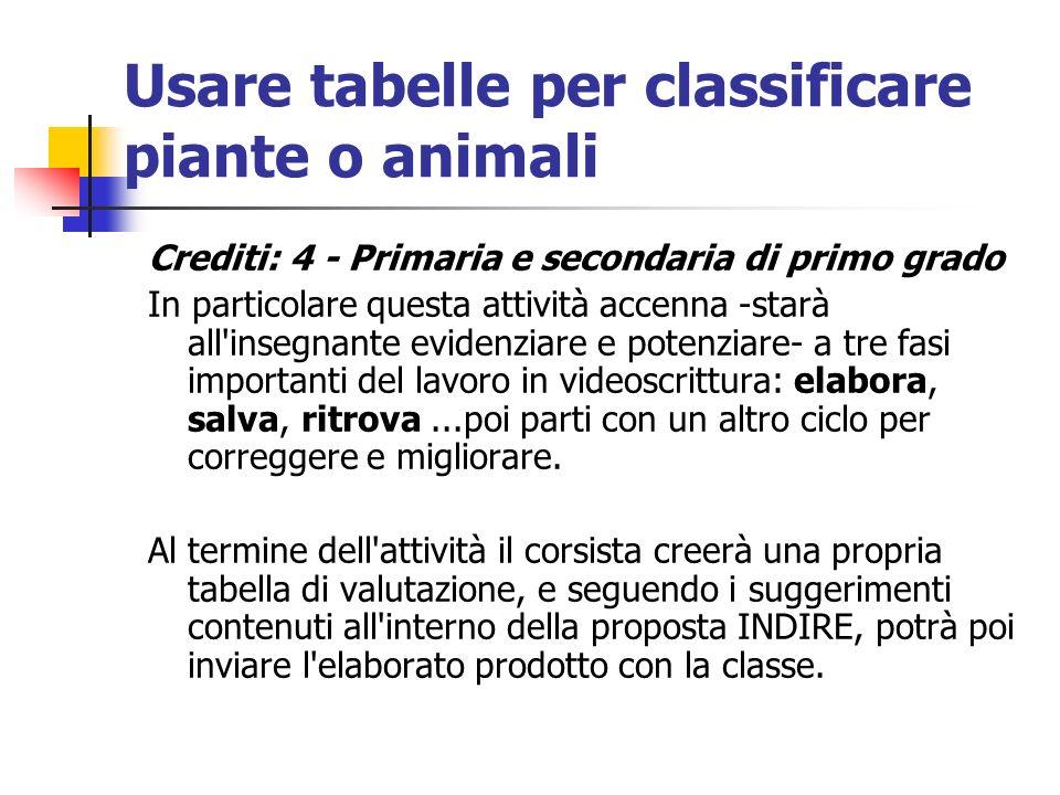 Usare tabelle per classificare piante o animali