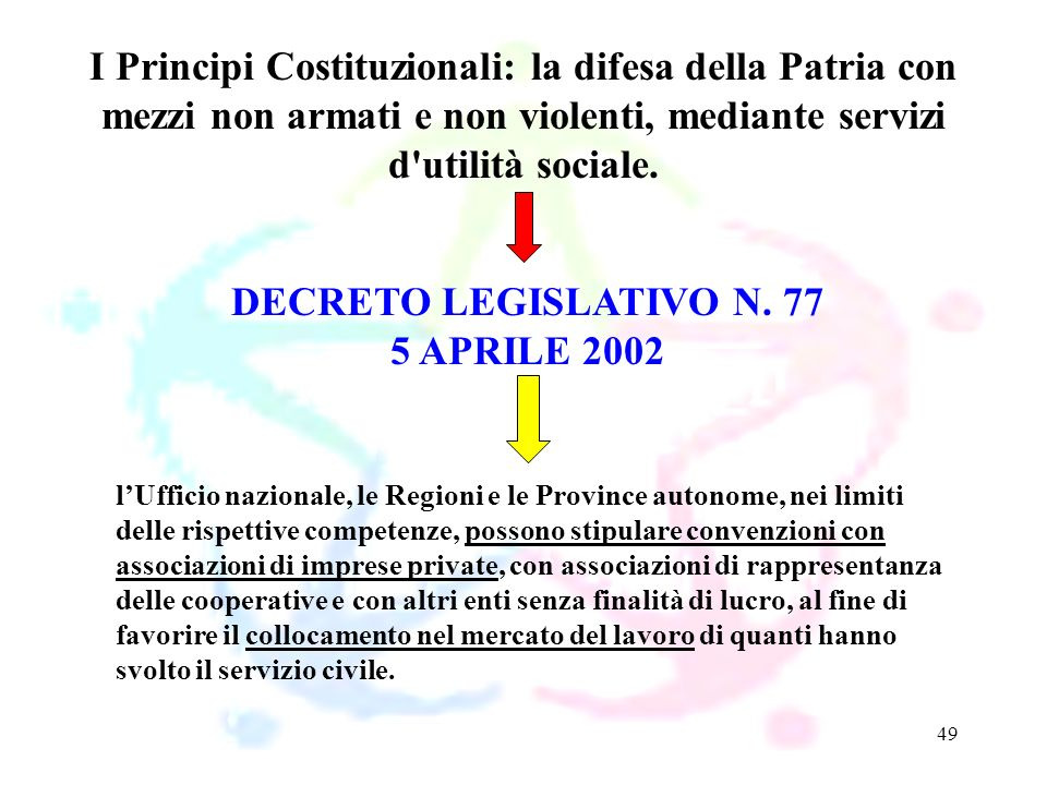 I Principi Costituzionali: la difesa della Patria con mezzi non armati e non violenti, mediante servizi d utilità sociale.