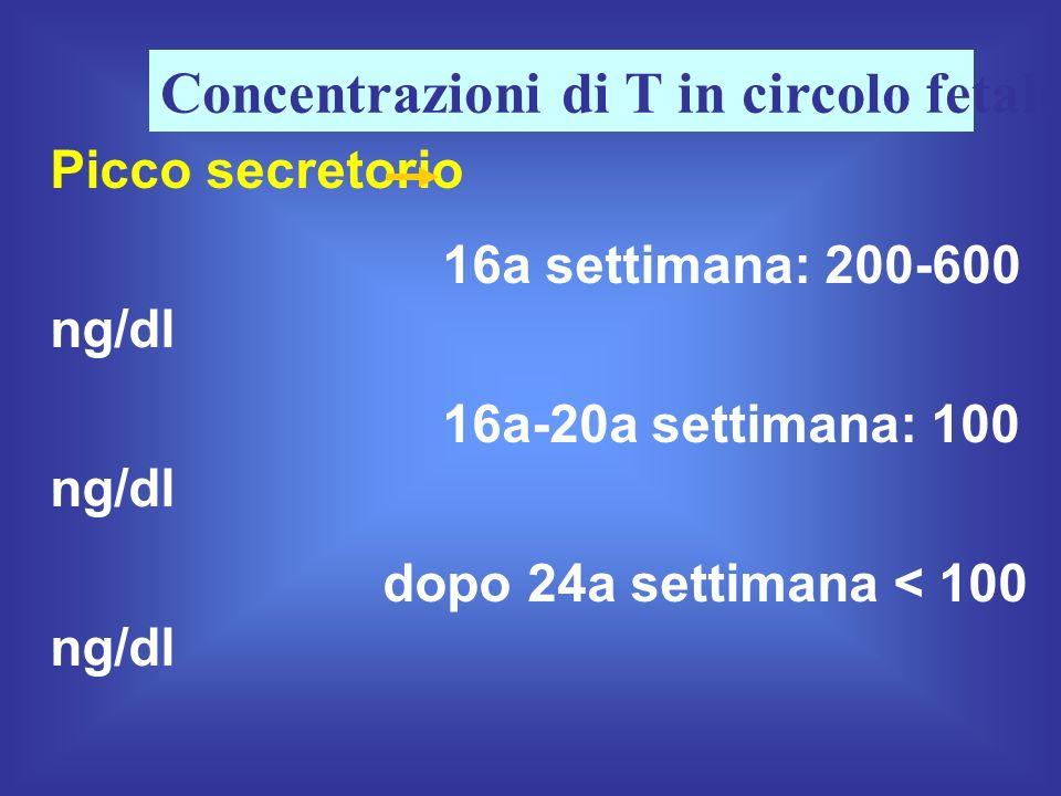 Concentrazioni di T in circolo fetale
