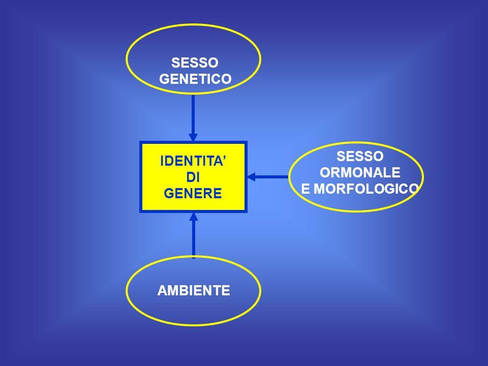 SESSO GENETICO SESSO ORMONALE E MORFOLOGICO IDENTITA' DI GENERE AMBIENTE