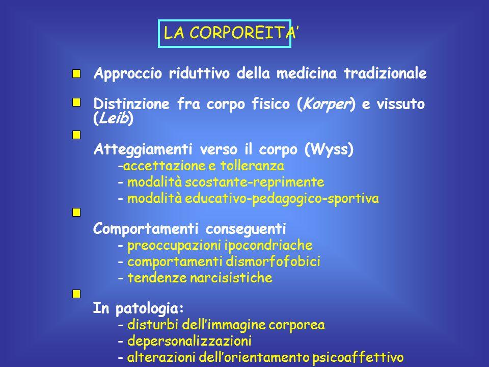 LA CORPOREITA' Approccio riduttivo della medicina tradizionale