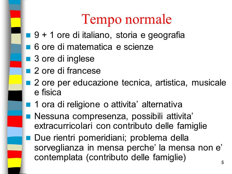 Tempo normale 9 + 1 ore di italiano, storia e geografia