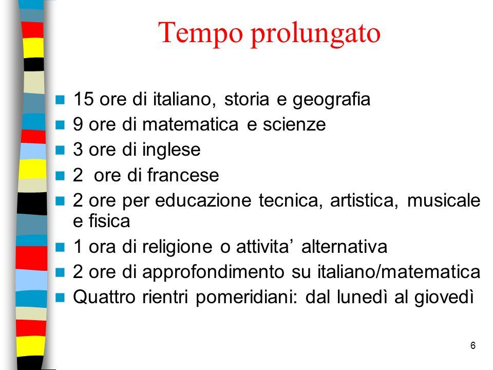 Tempo prolungato 15 ore di italiano, storia e geografia