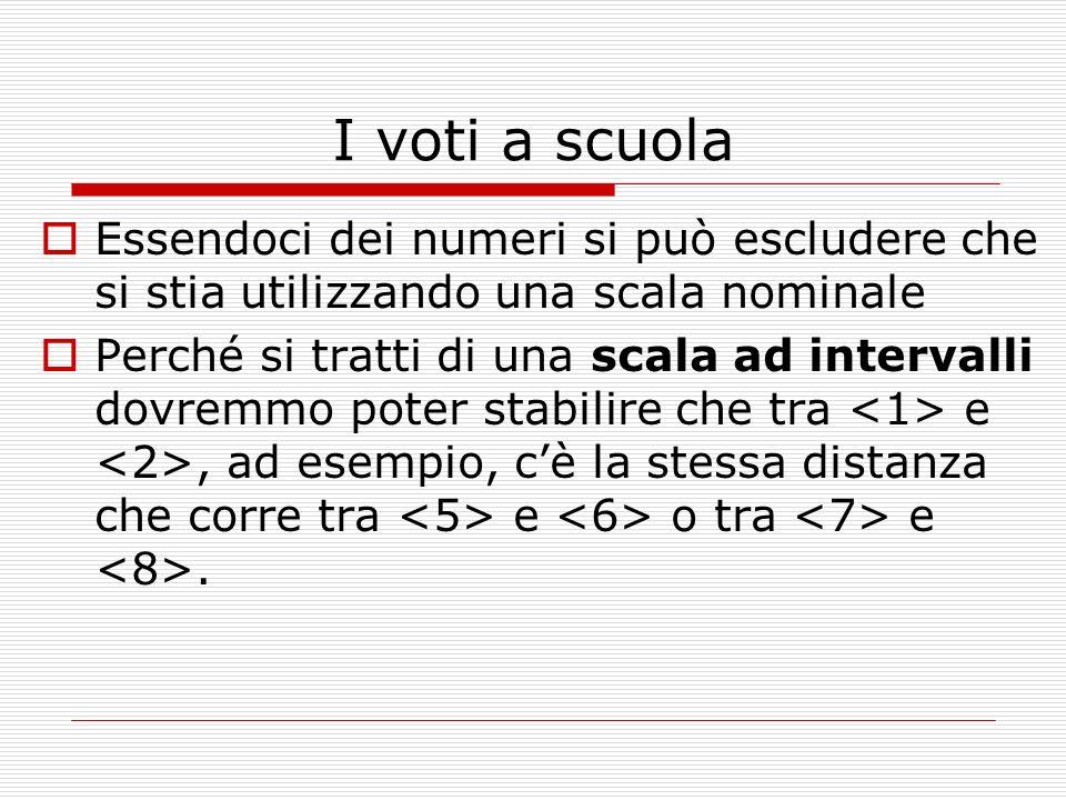 I voti a scuola Essendoci dei numeri si può escludere che si stia utilizzando una scala nominale.