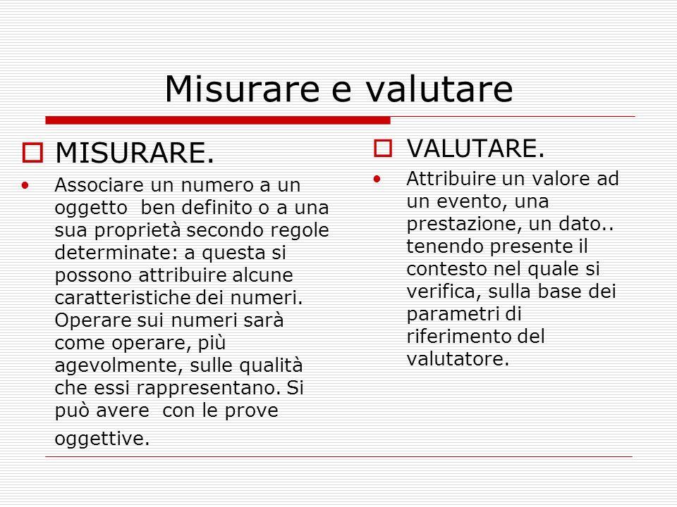Misurare e valutare MISURARE. VALUTARE.