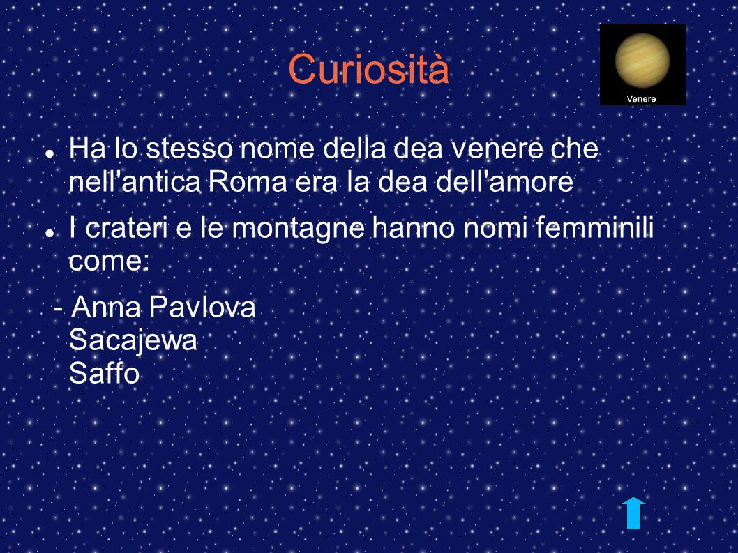 Curiosità Ha lo stesso nome della dea venere che nell antica Roma era la dea dell amore. I crateri e le montagne hanno nomi femminili come: