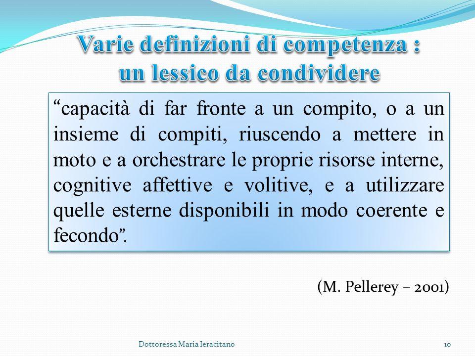 Varie definizioni di competenza : un lessico da condividere