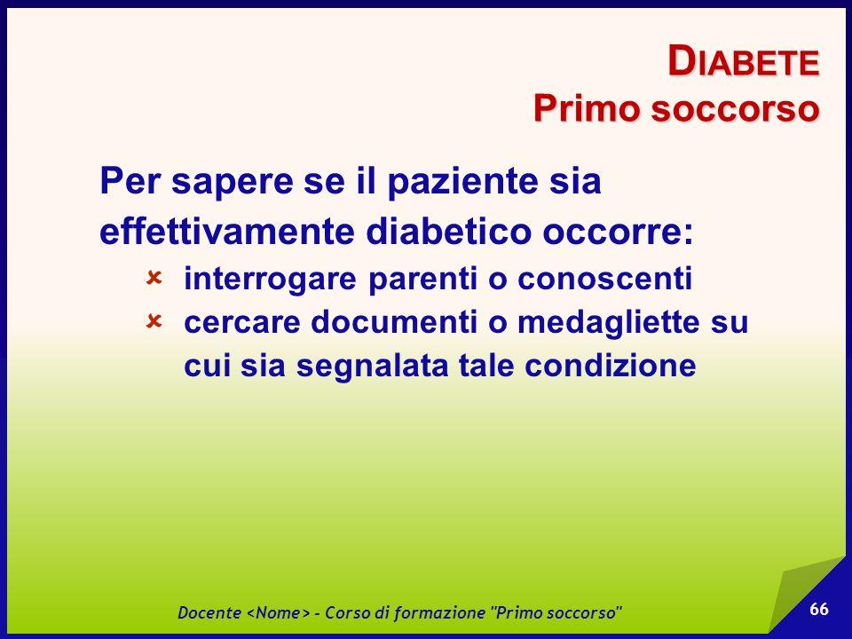 Diabete Primo soccorso