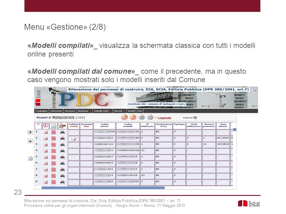 Menu «Gestione» (2/8) «Modelli compilati»_ visualizza la schermata classica con tutti i modelli online presenti.