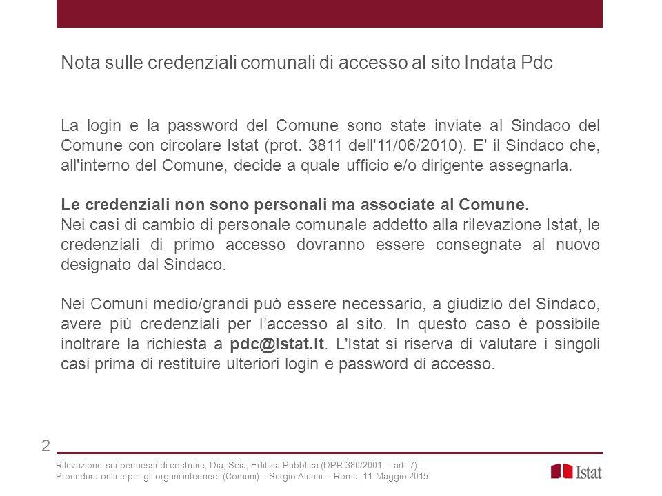 Nota sulle credenziali comunali di accesso al sito Indata Pdc