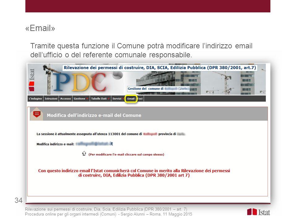 «Email» Tramite questa funzione il Comune potrà modificare l'indirizzo email dell'ufficio o del referente comunale responsabile.