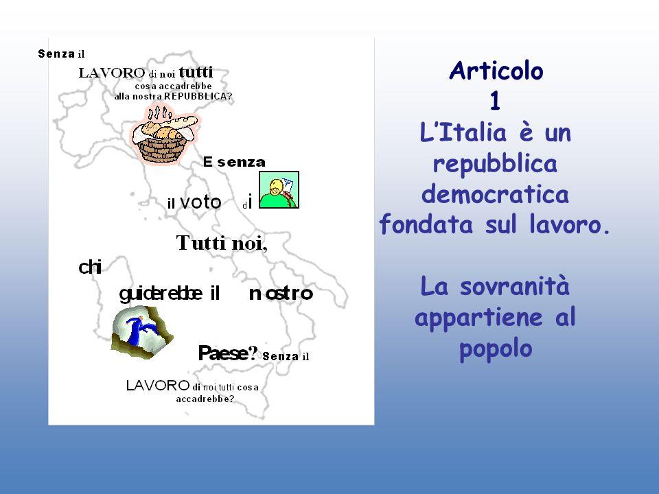 Articolo 1 L'Italia è un repubblica democratica fondata sul lavoro