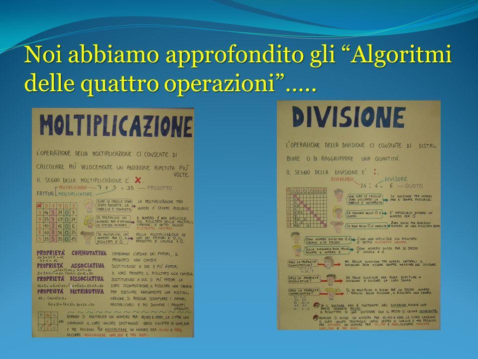 Noi abbiamo approfondito gli Algoritmi delle quattro operazioni …..