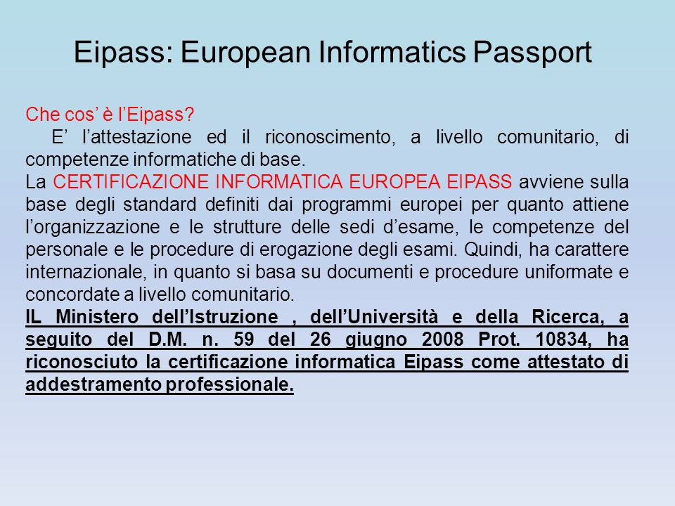 Eipass: European Informatics Passport
