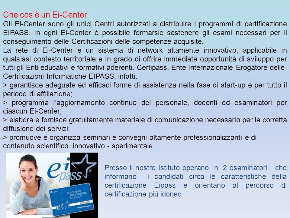 Che cos'è un Ei-Center