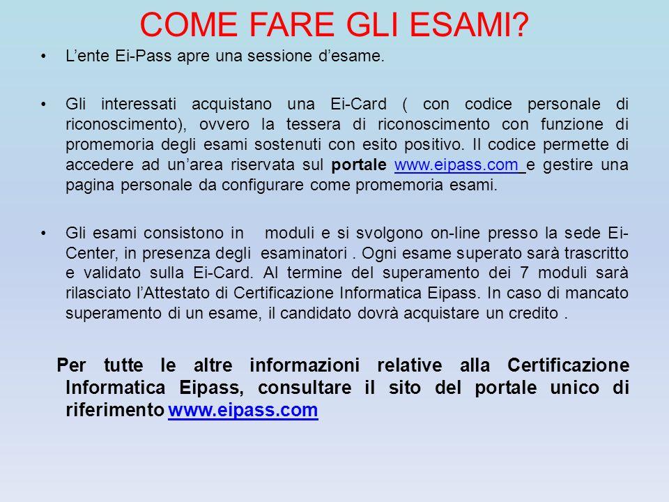 COME FARE GLI ESAMI L'ente Ei-Pass apre una sessione d'esame.