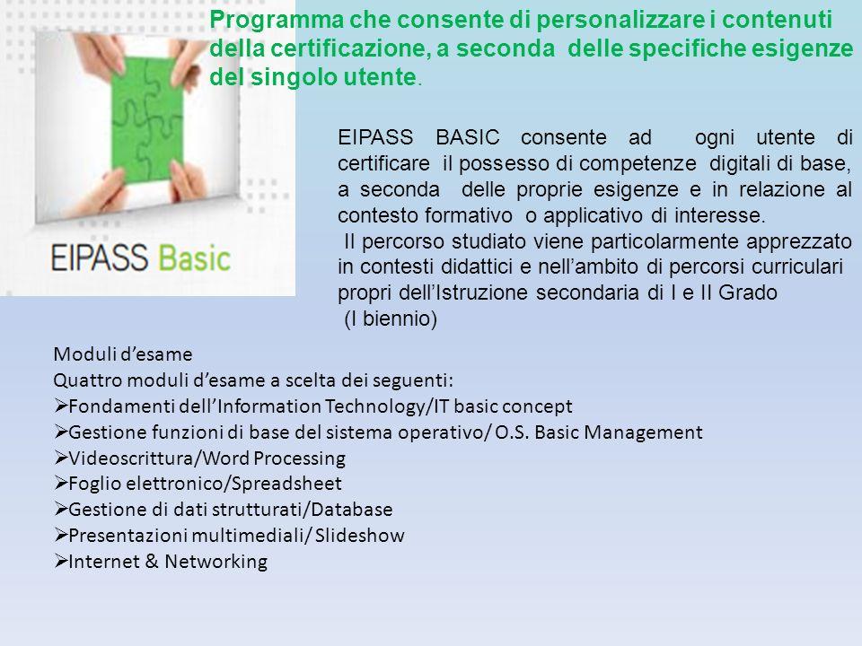 Programma che consente di personalizzare i contenuti della certificazione, a seconda delle specifiche esigenze del singolo utente.