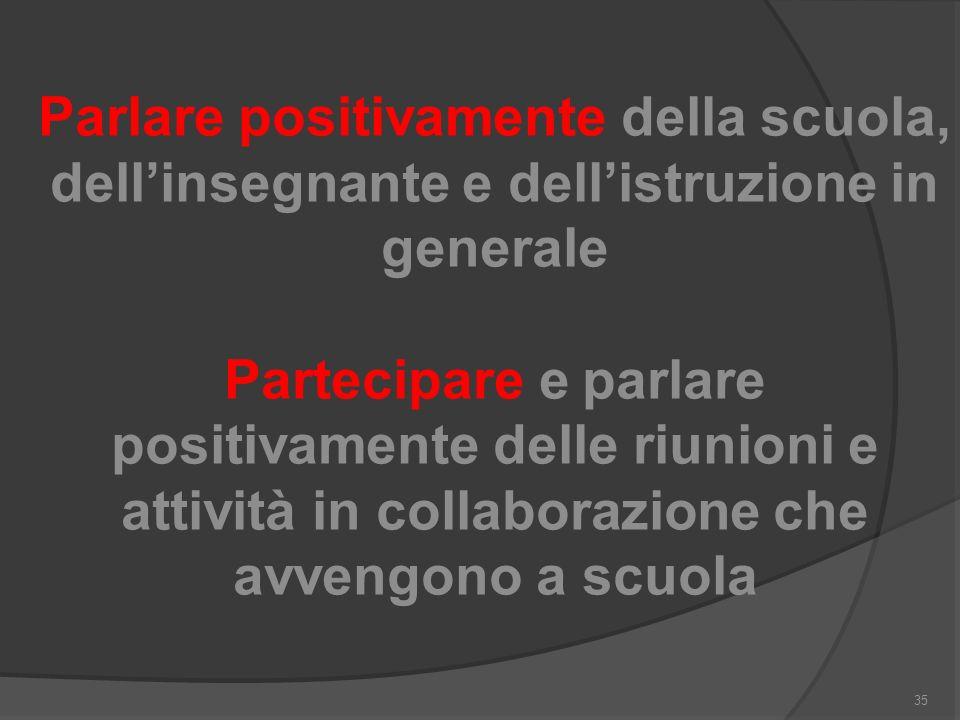 Parlare positivamente della scuola, dell'insegnante e dell'istruzione in generale Partecipare e parlare positivamente delle riunioni e attività in collaborazione che avvengono a scuola