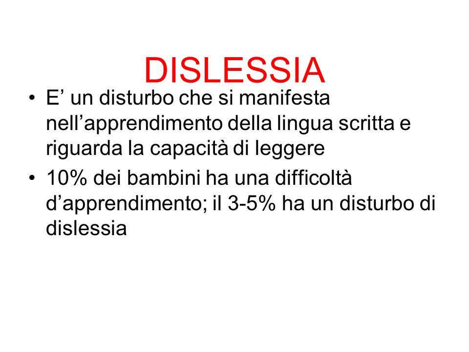 DISLESSIA E' un disturbo che si manifesta nell'apprendimento della lingua scritta e riguarda la capacità di leggere.