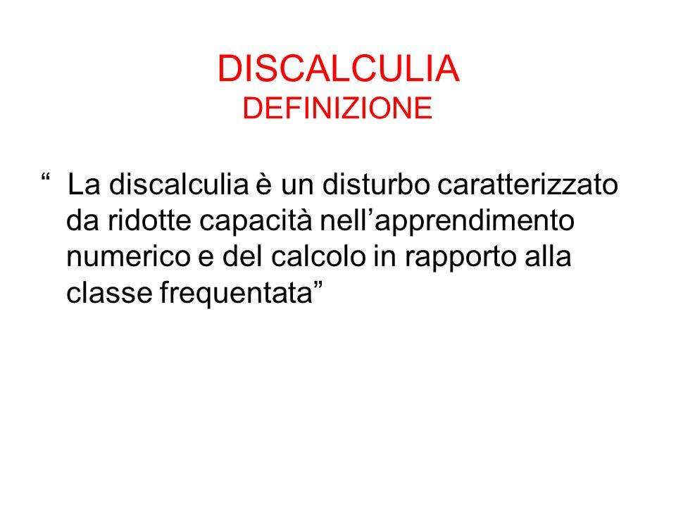 DISCALCULIA DEFINIZIONE