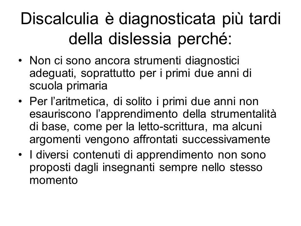 Discalculia è diagnosticata più tardi della dislessia perché: