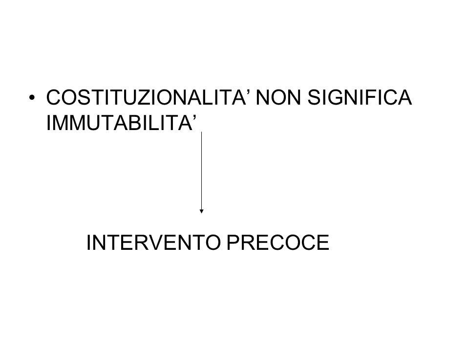COSTITUZIONALITA' NON SIGNIFICA IMMUTABILITA'