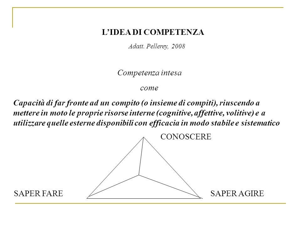 L'IDEA DI COMPETENZA Competenza intesa come