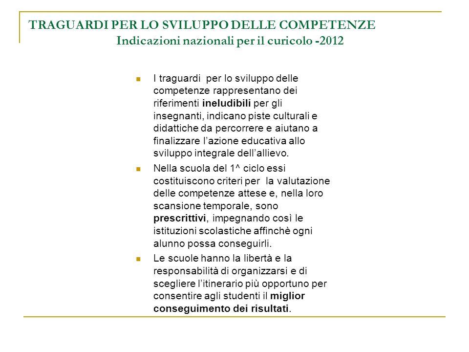 TRAGUARDI PER LO SVILUPPO DELLE COMPETENZE Indicazioni nazionali per il curicolo -2012