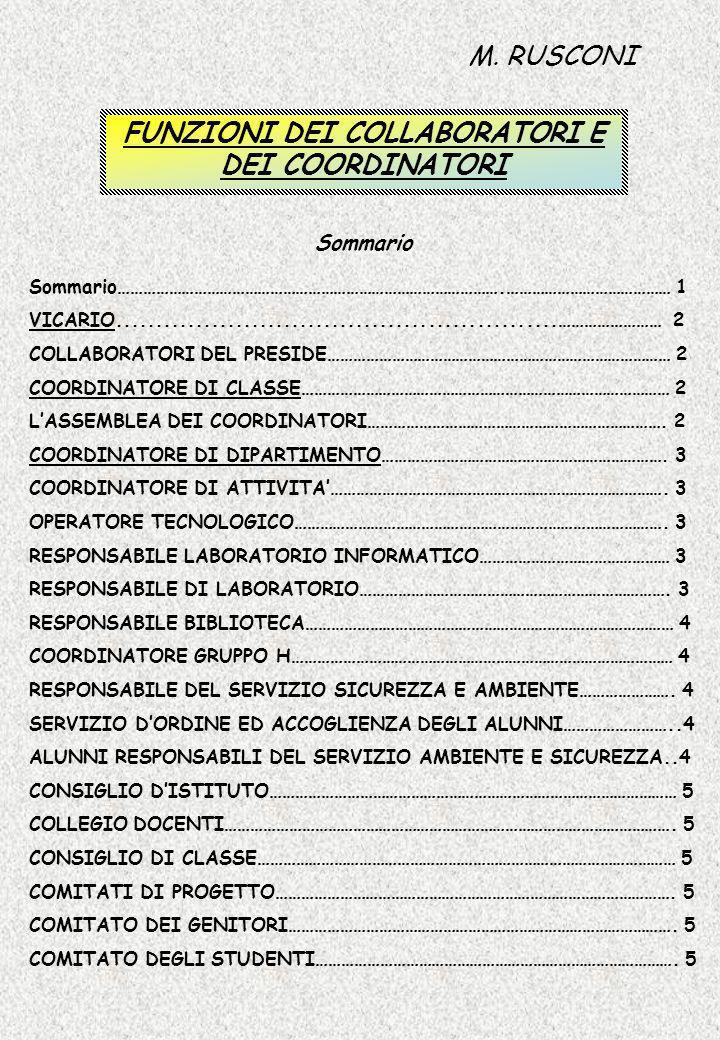 FUNZIONI DEI COLLABORATORI E DEI COORDINATORI