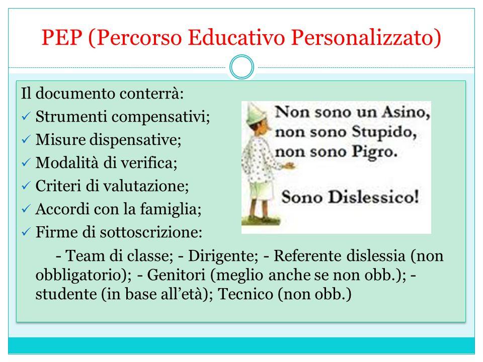 PEP (Percorso Educativo Personalizzato)