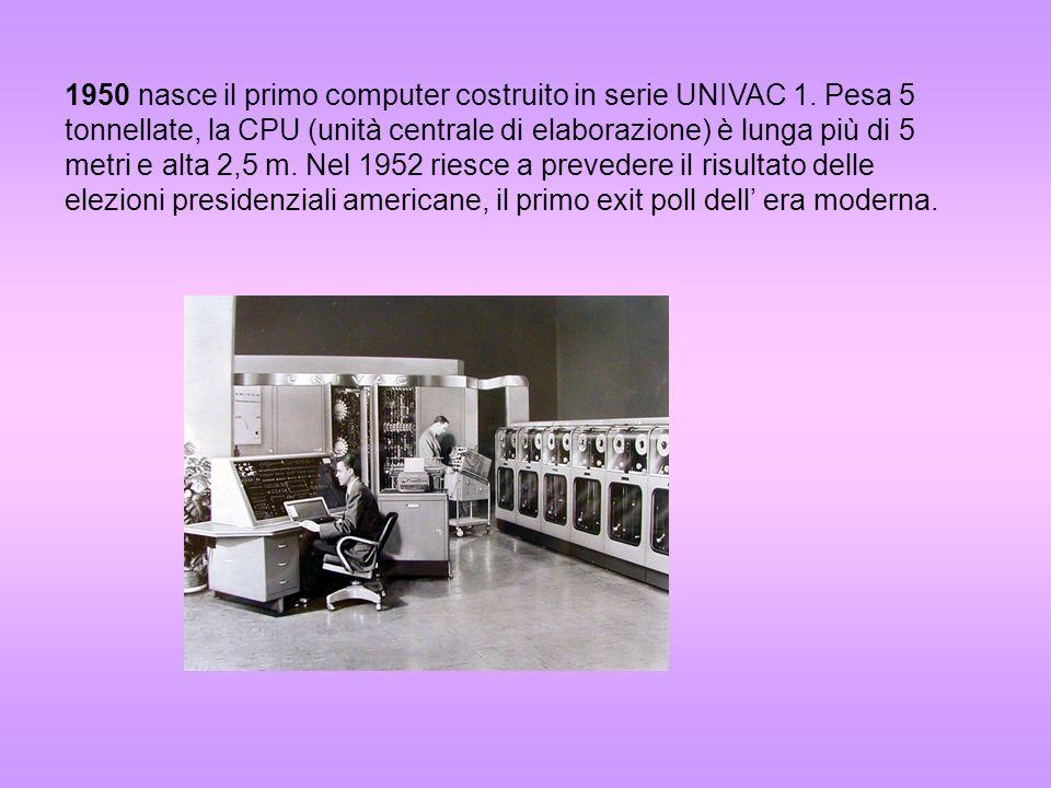 1950 nasce il primo computer costruito in serie UNIVAC 1