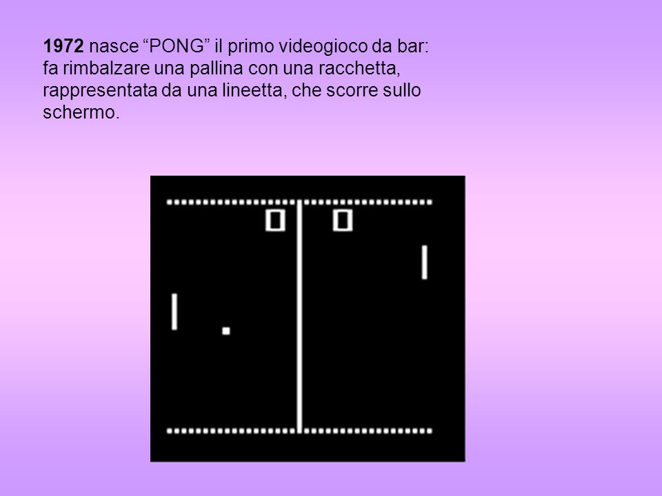 1972 nasce PONG il primo videogioco da bar: fa rimbalzare una pallina con una racchetta, rappresentata da una lineetta, che scorre sullo schermo.