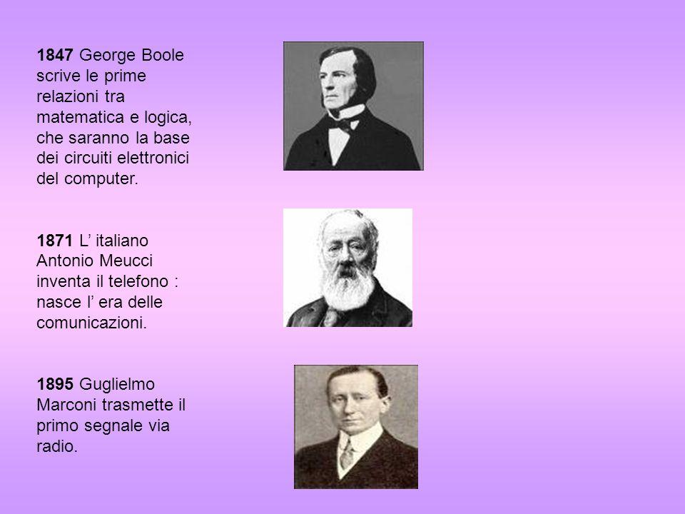 1847 George Boole scrive le prime relazioni tra matematica e logica, che saranno la base dei circuiti elettronici del computer.