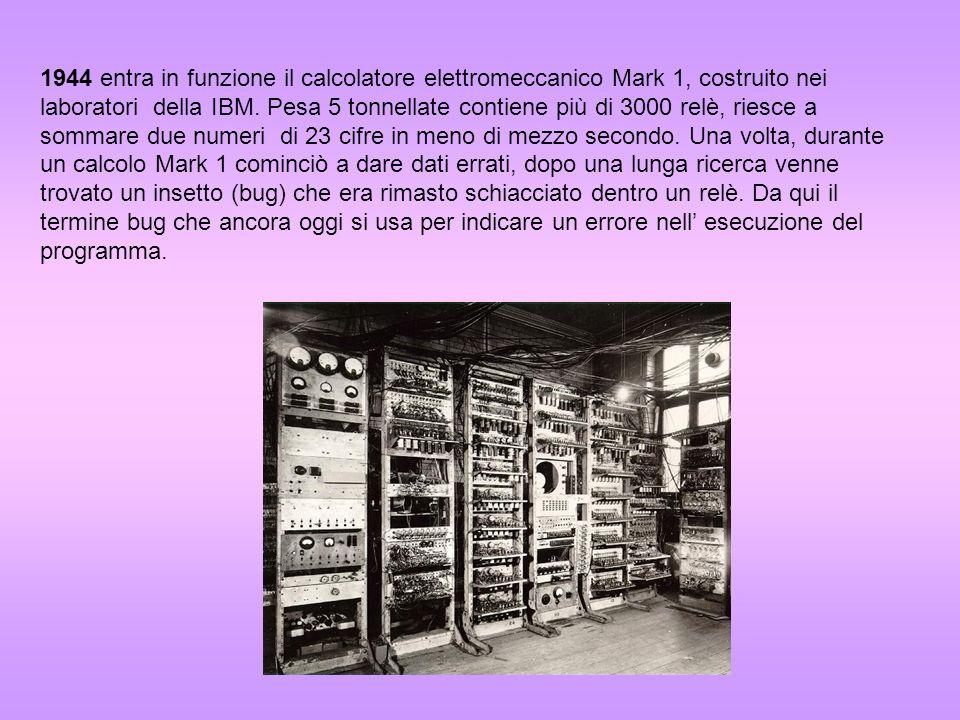 1944 entra in funzione il calcolatore elettromeccanico Mark 1, costruito nei laboratori della IBM.
