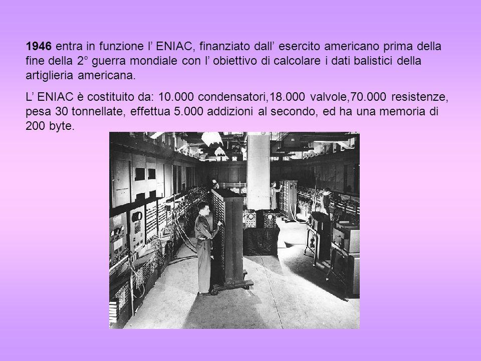 1946 entra in funzione l' ENIAC, finanziato dall' esercito americano prima della fine della 2° guerra mondiale con l' obiettivo di calcolare i dati balistici della artiglieria americana.