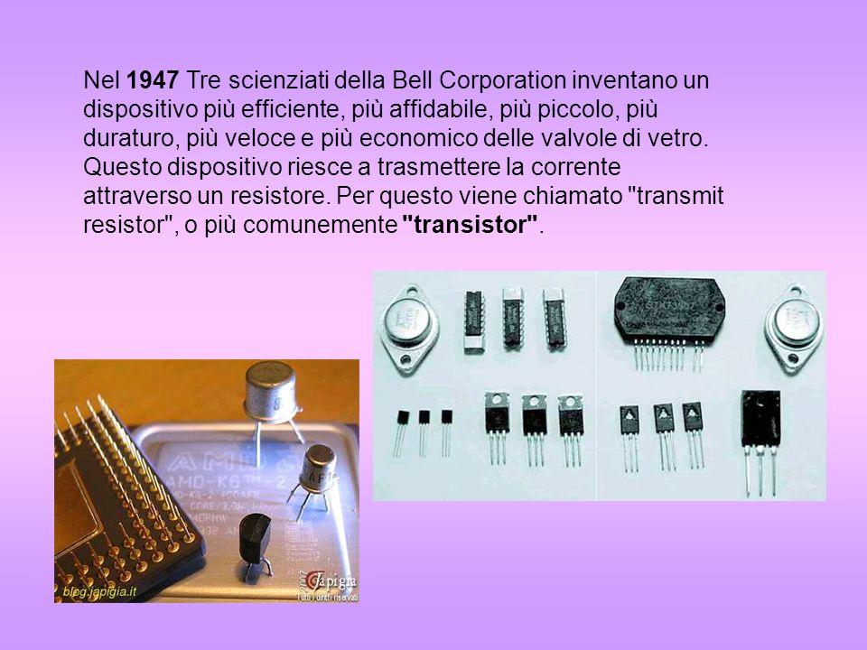 Nel 1947 Tre scienziati della Bell Corporation inventano un dispositivo più efficiente, più affidabile, più piccolo, più duraturo, più veloce e più economico delle valvole di vetro.
