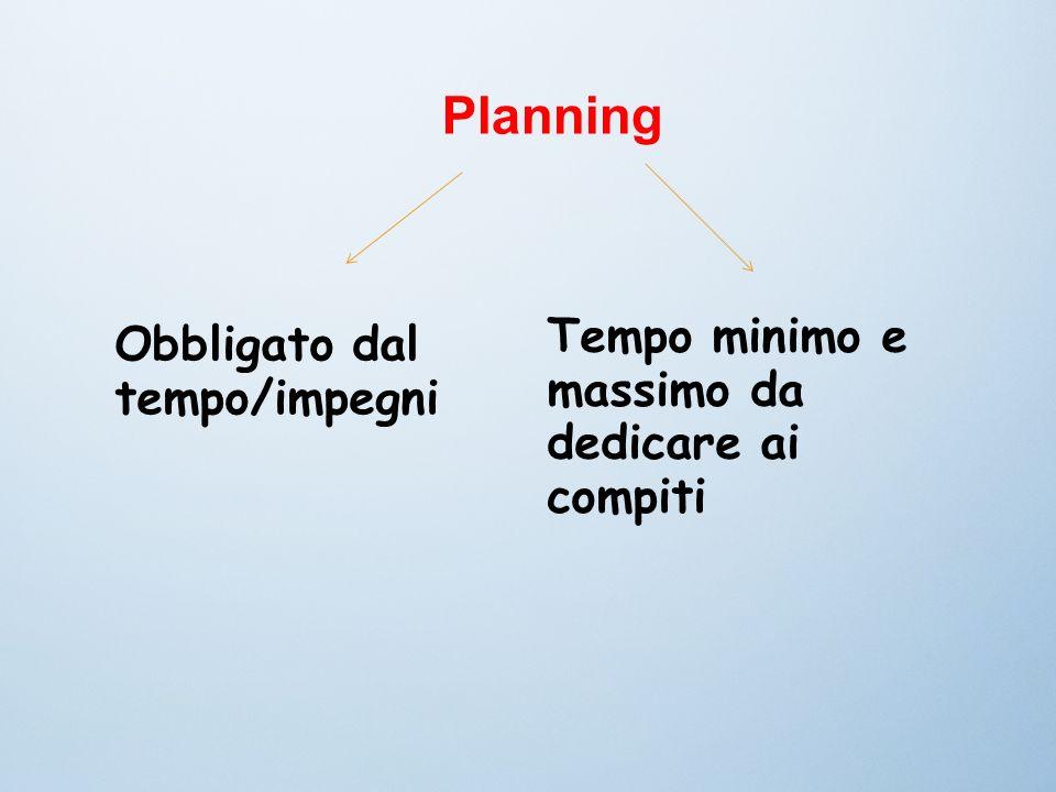 Planning Tempo minimo e massimo da dedicare ai compiti