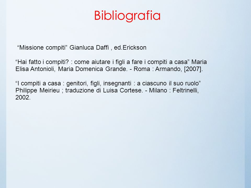 Bibliografia Missione compiti Gianluca Daffi , ed.Erickson