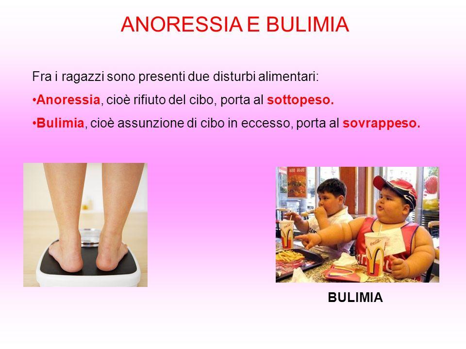 ANORESSIA E BULIMIA Fra i ragazzi sono presenti due disturbi alimentari: Anoressia, cioè rifiuto del cibo, porta al sottopeso.
