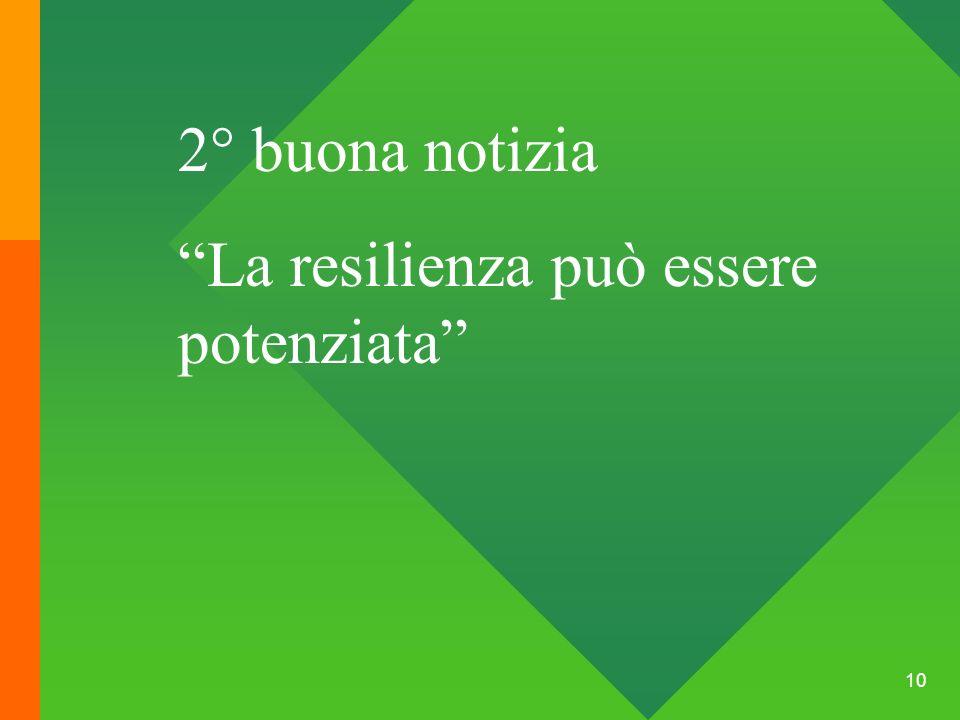 2° buona notizia La resilienza può essere potenziata