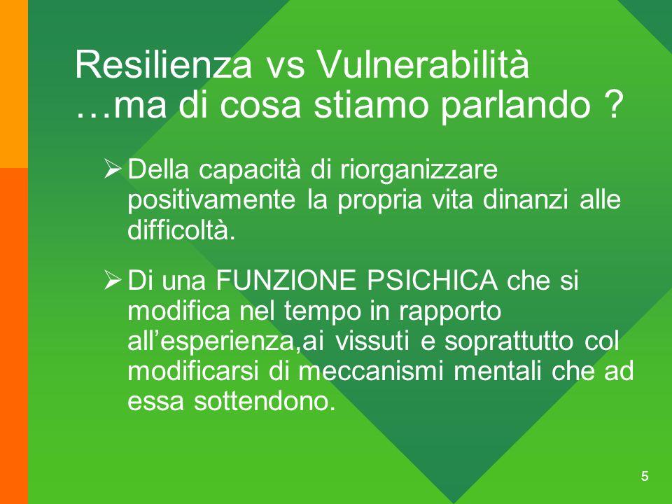 Resilienza vs Vulnerabilità …ma di cosa stiamo parlando